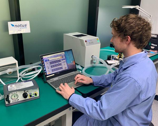 Man testing NOTUS ventilator
