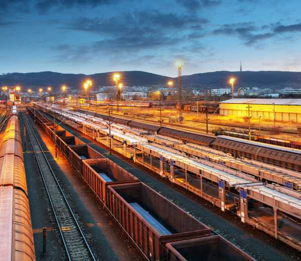 Freight trains and cargo containers