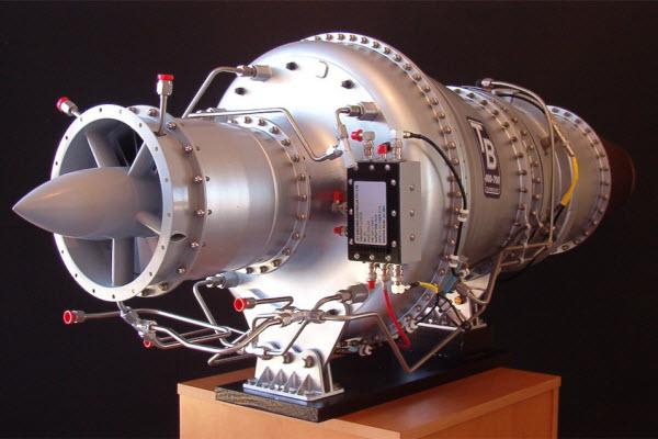 Jet Engine displayed on a rack