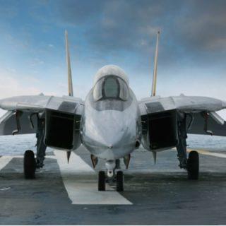 F-14 jet fighter on an aircraft carrier deck