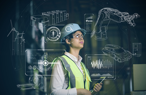 Woman engineer and industrial technology abstract