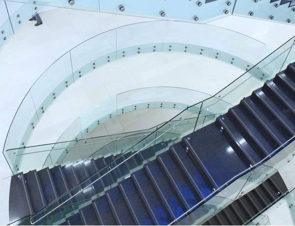 Stairs with Glass around it