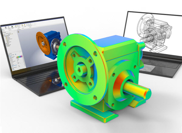 3D renderign - Gear reducer computer aided design analysis